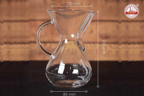 Dụng cụ pha cà phê kiểu Mỹ bằng thủy tinh có tay cầm (1L)
