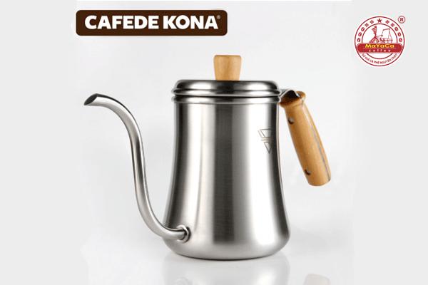 Ấm Drip cà phê bằng thép tay cầm gổ (900 ML)