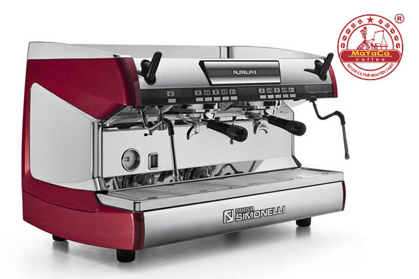 may-pha-ca-phe-Nuova-Simonelli-Aurelia-II-volumetric-2-group-red