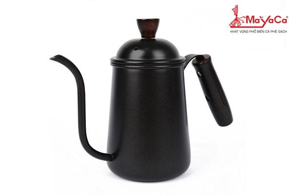 Ấm drip cà phê bằng inox tay gỗ (650 ML)