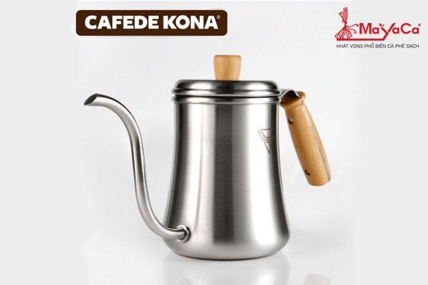 Ấm Drip cà phê bằng thép tay cầm gỗ (900 ML)
