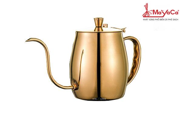 Ấm Drip cà phê bằng thép (vàng-700 ML)