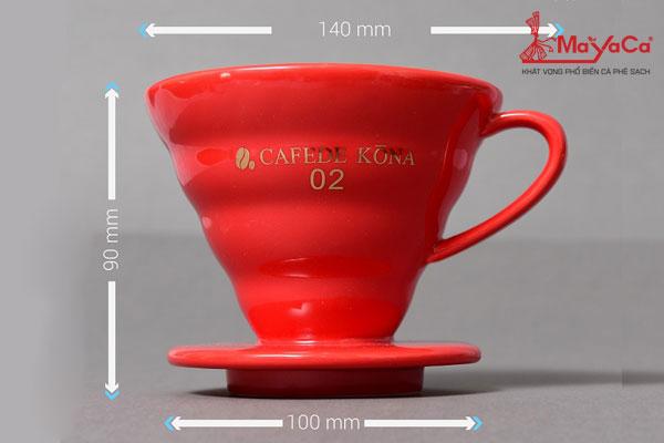 Phểu drip V60 bằng sứ (đỏ) dùng 2-4 người