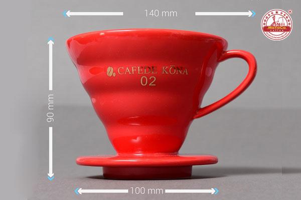 Phểu drip V60 bằng sứ (đỏ)