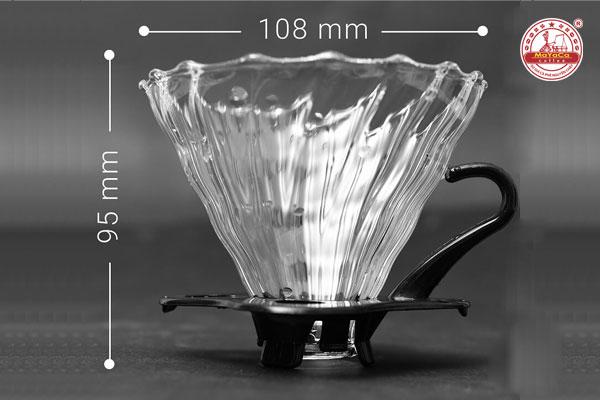 Phểu Drip V60 bằng thuỷ tinh đế màu đen